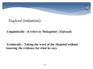 taqleed - imitation